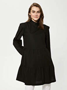MODEST Judge Collar Straight Long Sleeve Poplin Women Tunic