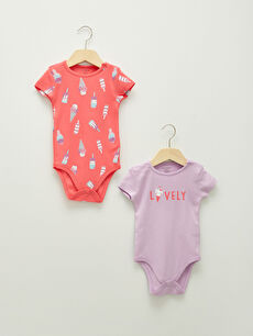 Crew Neck Short Sleeve Printed Cotton Unisex Baby Snapback Bodysuit 2 Pieces