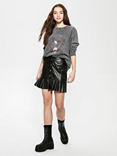 LCW CASUAL Faux Leather Mini Skirt