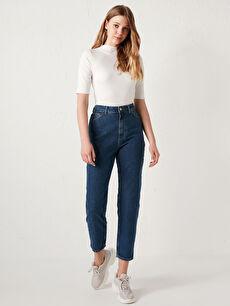 Yüksek Bel Bilek Boy Kadın Jean Pantolon