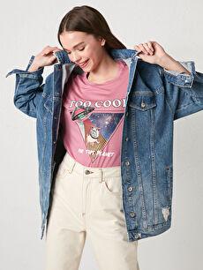 Cep Detaylı Uzun Kollu Pamuklu Kadın Rodeo Jean Ceket