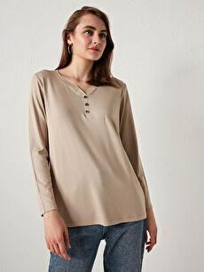 V Yaka Düz Krep Kadın Tişört