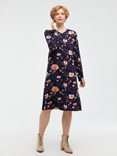 Çiçek Desenli Esnek Viskon Elbise