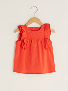 Square Neck Ruffle Detail Baby Girl Blouse