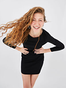 XSIDE Sırt Detaylı Uzun Kollu Kadın Elbise
