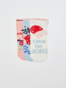 Patterned Girl's Booties Socks 3 Pieces