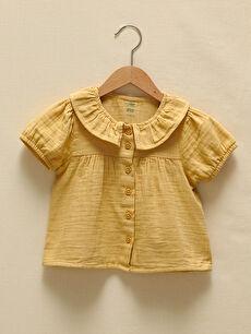 LCW GREEN Baby Collar Short Sleeve Organic Cotton Basic Baby Girl Shirt