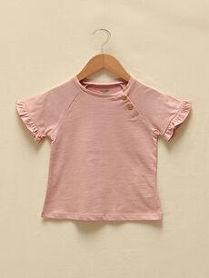 LCW GREEN Crew Neck Short Sleeve Organic Cotton Basic Baby Girl Blouse