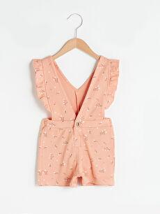 V Neck Printed Baby Girl Short Jumpsuit