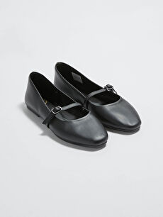 Kadın Deri Görünümlü Babet Ayakkabı