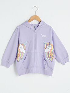 Kapüşonlu Baskılı Uzun Kollu Kız Çocuk Fermuarlı Sweatshirt