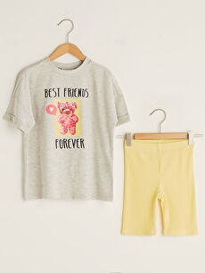 Crew Neck Printed Short Sleeve Girls T-Shirt and Tights