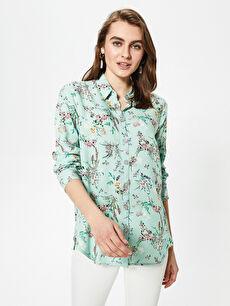 Çiçek Desenli Uzun Kollu Viskon Kadın Gömlek