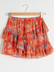 XSIDE Elastic Waist Floral Printed Lined Woman Skirt