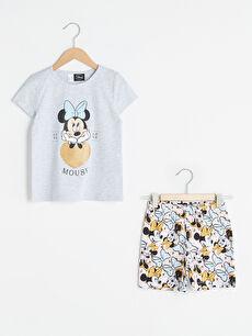 Bisiklet Yaka Minnie Mouse Baskılı Kısa Kollu Kız Çocuk Pijama Takımı
