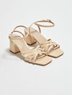 Çapraz Bantlı Deri Görünümlü Kadın Topuklu Sandalet