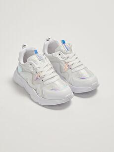 Hologram Detaylı Bağcıklı Kız Çocuk Spor Ayakkabı