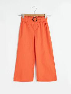 Beli Lastikli Basic Geniş Paça Kız Çocuk Pantolon