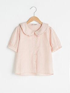 Çizgili Fırfır Detaylı Kısa Kollu Poplin Kız Çocuk Gömlek
