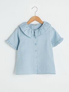 Bebe Yaka Basic Kısa Kollu Pamuklu Kız Çocuk Gömlek