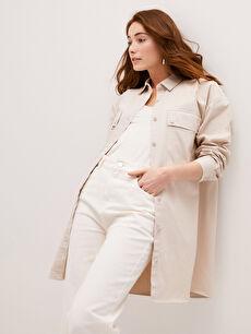 LCW CLASSIC Gömlek Yaka Düz Uzun Kollu Cep Detaylı Pamuklu Kadın Tunik
