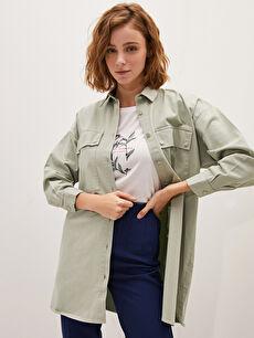 LCW CLASSIC Shirt Collar Straight Long Sleeve Pocket Detailed Cotton Women's Tunic