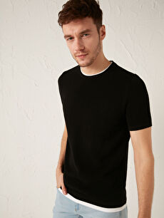 LCW CASUAL Crew Neck Short Sleeve Basic Knitwear Sweater