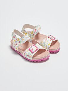 Baskılı Tek Bantlı Kız Çocuk Sandalet