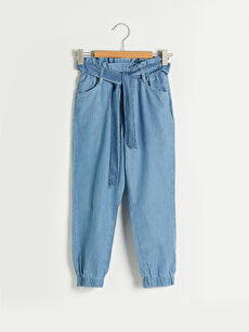 Beli Lastikli Kız Çocuk Jean Jogger Pantolon