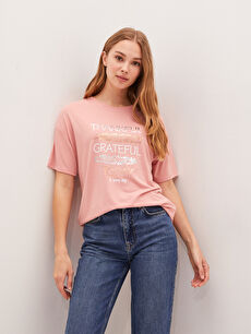 LCW CASUAL Crew Neck Printed Short Sleeve Women's T-Shirt