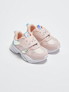 File Detaylı Cırt Cırtlı Kız Bebek Spor Ayakkabı