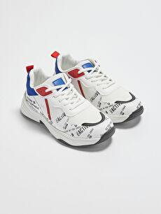 File Detaylı Baskılı Erkek Çocuk Spor Ayakkabı