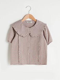 Bebe Yaka Ekose Kısa Kollu Poplin Kız Çocuk Gömlek