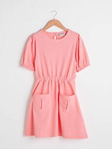 Crew Neck Basic Short Sleeve Cotton Girl's Dress