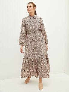 MODEST Düğmeli Gömlek Yaka Çiçekli Uzun Kollu Kadın Elbise