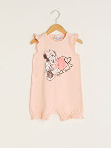 Crew Neck Minnie Mouse Printed Cotton Baby Girl Jumpsuit