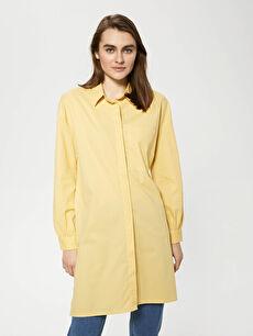 MODEST Shirt Collar Straight Long Sleeve Poplin Women Tunic