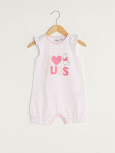 Crew Neck Winnie the Pooh Printed Cotton Baby Girl Jumpsuit