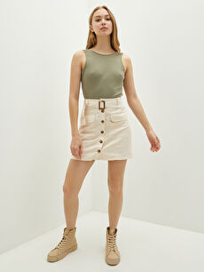 LCW CASUAL Women's Cotton Mini Skirt With Belt Detailed Pockets