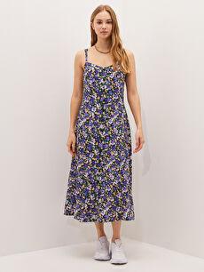 LCW CASUAL Askılı Çiçek Desenli Düğme Detaylı Belmando Kumaş Kadın Elbise