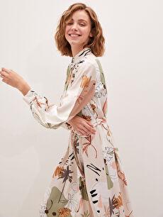 MODEST Gömlek Yaka Çiçek Baskılı Uzun Kollu Beli Kuşaklı Kadın Elbise
