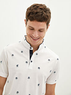 LCW CASUAL Judge Collar Short Sleeve Patterned Men's T-Shirt