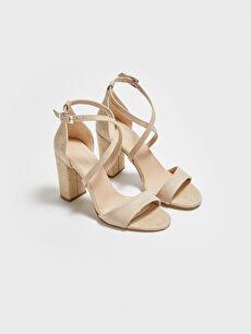 Çapraz Bantlı Süet Kadın Topuklu Ayakkabı