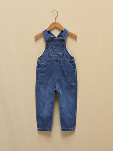 LCW GREEN Embroidery Detailed Organic Cotton Baby Boy Jean Salopet