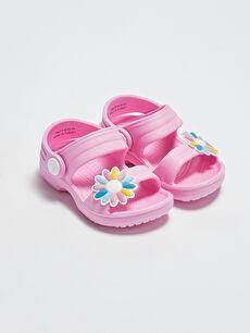 Çiçek Aplikeli Kız Bebek Sandalet
