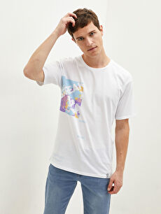 LCW CASUAL Crew Neck Short Sleeve Printed Combed Cotton Men's T-Shirt