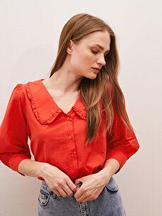 LCW CLASSIC Fırfırlı Bebe Yaka Düğmeli Poplin Kadın Gömlek