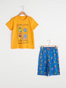 Bisiklet Yaka Baskılı Kısa Kollu Pamuklu Erkek Çocuk Şortlu Pijama Takımı