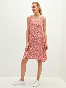 LCW CLASSIC U Yaka Çiçekli Askılı Viskon Kadın Elbise