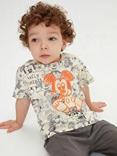 Bisiklet Yaka Kısa Kollu Mickey Mouse Baskılı Pamuklu Erkek Bebek Tişört